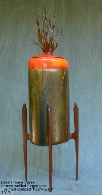 Desert Flame Vessel formed welded and forged steel oxcidized and painted -001