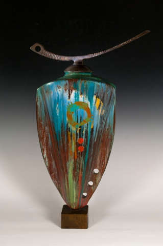 Steel Vessel with Orange Setting Sun 2