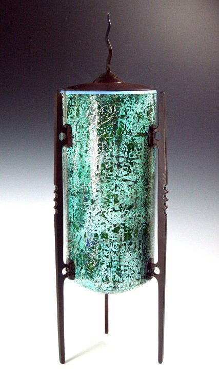 Vessel XII Jade aluminum and steel etched and painted